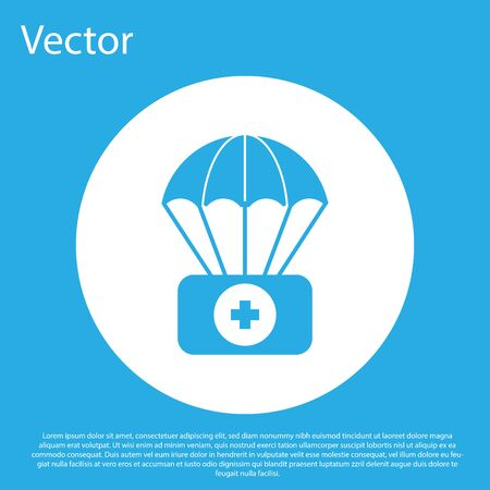 Blue Parachute with first aid kit icon isolated on blue background. Medical insurance. White circle button. Vector Illustration Zdjęcie Seryjne - 134490691