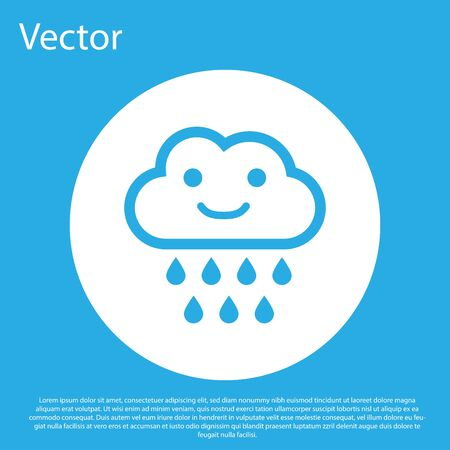 Blue Cloud with rain icon isolated on blue background. Rain cloud precipitation with rain drops. White circle button. Vector Illustration
