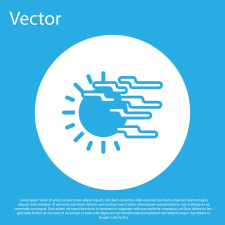 Blue Fog and sun icon isolated on blue background. White circle button. Vector Illustration