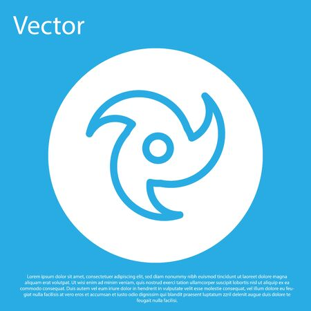 Blue Tornado icon isolated on blue background. Cyclone, whirlwind, storm funnel, hurricane wind or twister weather icon. White circle button. Vector Illustration