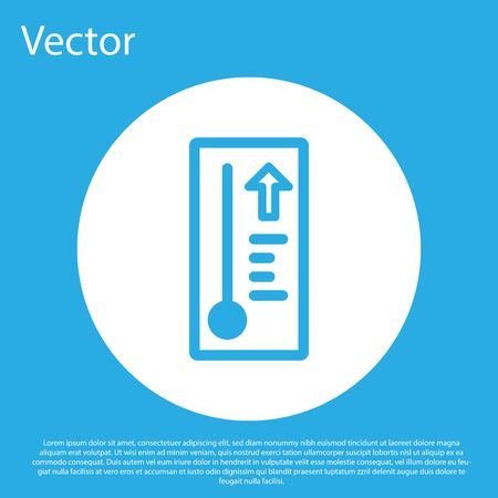 Blue Meteorology thermometer measuring heat and cold icon isolated on blue background. Thermometer equipment showing hot or cold weather. White circle button. Vector Illustration