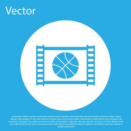 Blue Basketball game video icon isolated on blue background. White circle button. Vector Illustration Illusztráció