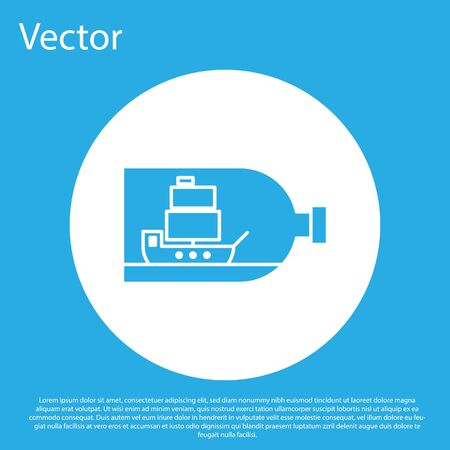 Blue Glass bottle with ship inside icon isolated on blue background. Miniature model of marine vessel. Hobby and sea theme. White circle button. Vector Illustration Stock Illustratie
