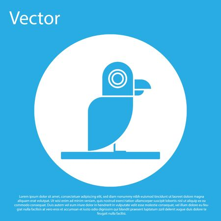 Blue Pirate parrot icon isolated on blue background. White circle button. Vector Illustration