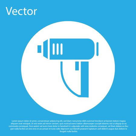 Blue Electric industrial dryer icon isolated on blue background. White circle button. Vector Illustration Çizim