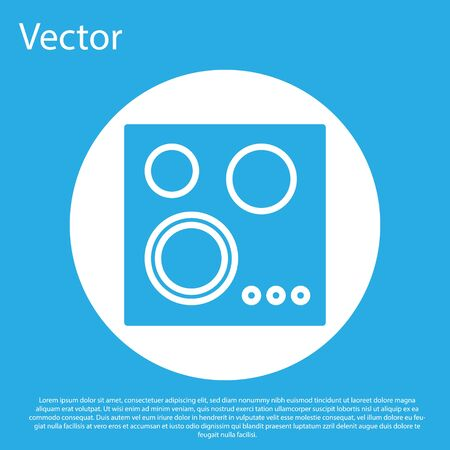 Blue Gas stove icon isolated on blue background. Cooktop sign. Hob with four circle burners. White circle button. Vector Illustration Standard-Bild - 134490568