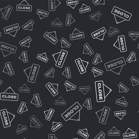 Grey Hanging sign with text Close icon isolated seamless pattern on black background. Business theme for cafe or restaurant. Vector Illustration