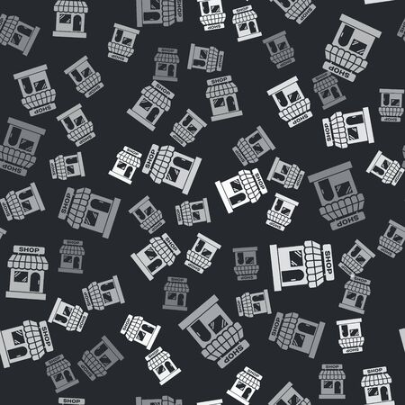 Grey Shopping building or market store icon isolated seamless pattern on black background. Shop construction. Vector Illustration Illustration