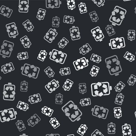 Grey Battery with recycle symbol line icon isolated seamless pattern on black background. Battery with recycling symbol - renewable energy concept. Vector Illustration