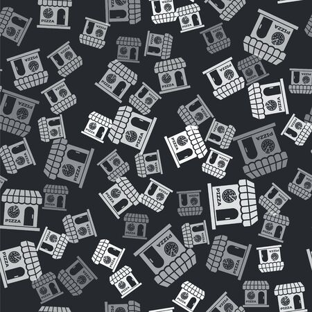 Grey Pizzeria building facade icon isolated seamless pattern on black background. Fast food pizzeria kiosk. Vector Illustration