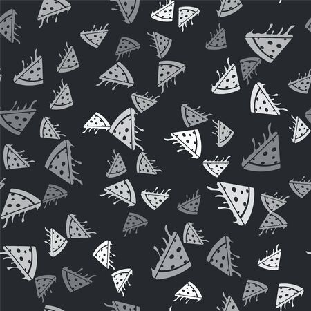 Grey Slice of pizza icon isolated seamless pattern on black background. Vector Illustration Иллюстрация