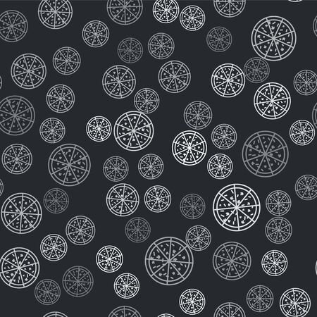 Grey Pizza icon isolated seamless pattern on black background. Vector Illustration