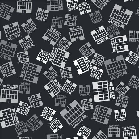 Grey Supermarket building with shopping cart icon isolated seamless pattern on black background. Shop or store. Mall building. Vector Illustration