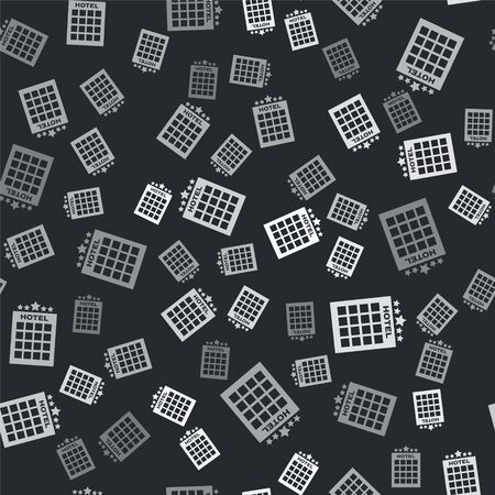 Grey Hotel building icon isolated seamless pattern on black background. Vector Illustration