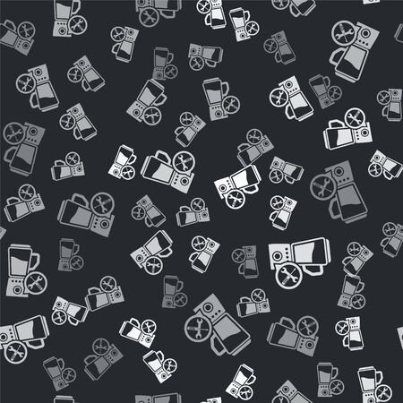 Grey Blender with screwdriver and wrench icon isolated seamless pattern on black background. Adjusting, service, setting, maintenance, repair, fixing. Vector Illustration