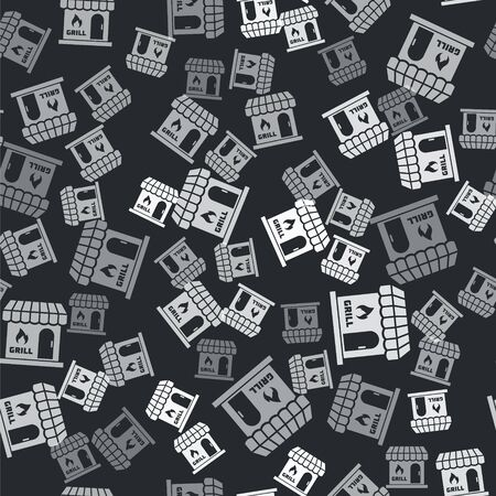 Grey Barbecue shopping building or market store icon isolated seamless pattern on black background. BBQ grill party. Shop construction. Vector Illustration Illustration