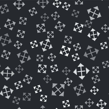 Grey Pixel arrows in four directions icon isolated seamless pattern on black background. Cursor move sign. Vector Illustration