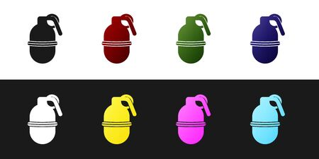 Set Hand grenade icon isolated on black and white background. Bomb explosion. Vector Illustration 向量圖像