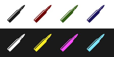 Set Bullet icon isolated on black and white background. Vector Illustration