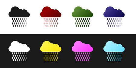 Set Cloud with rain icon isolated on black and white background. Rain cloud precipitation with rain drops. Vector Illustration