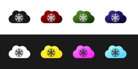 Set Cloud with snow icon isolated on black and white background. Cloud with snowflakes. Single weather icon. Snowing sign. Vector Illustration