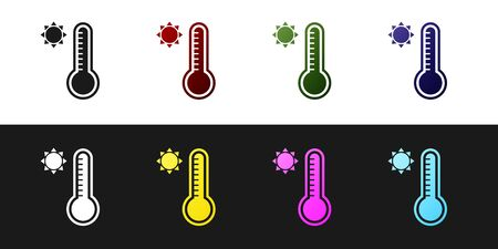 Set Meteorology thermometer measuring heat and cold icon isolated on black and white background. Thermometer equipment showing hot or cold weather. Vector Illustration
