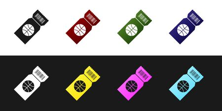 Set Basketball game ticket icon isolated on black and white background. Vector Illustration Stockfoto - 134530107