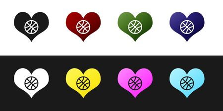 Set Heart with basketball ball inside icon isolated on black and white background. Basketball love. Vector Illustration Stockfoto - 134530109