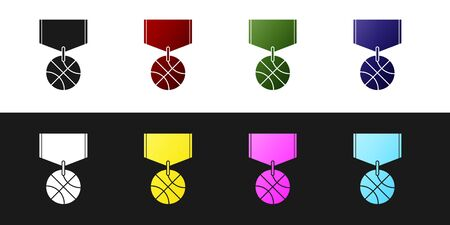 Set Basketball medal with ribbon icon isolated on black and white background. Vector Illustration