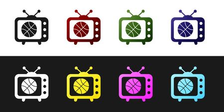 Set Basketball match on tv program icon isolated on black and white background. Vector Illustration