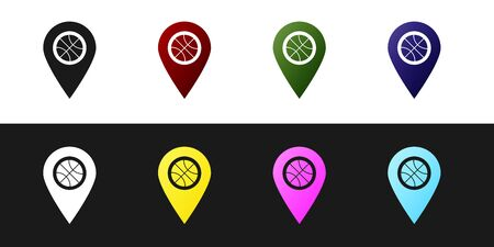 Set Location with basketball ball inside icon isolated on black and white background. Vector Illustration Stock Illustratie