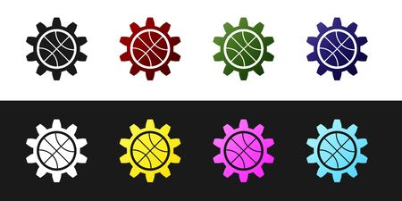 Set Planning strategy concept icon isolated on black and white background. Basketball cup formation and tactic. Vector Illustration Stockfoto - 134530224