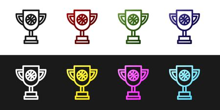 Set Award cup with basketball ball icon isolated on black and white background. Winner trophy symbol. Championship or competition trophy. Vector Illustration