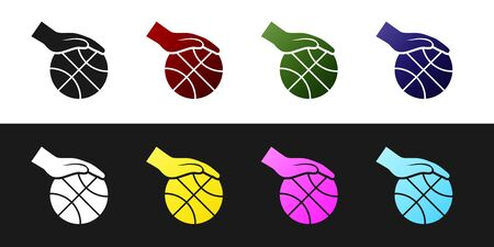 Set Hand with basketball ball icon isolated on black and white background. Sport symbol. Vector Illustration Stockfoto - 134530230