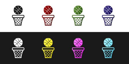Set Basketball ball and basket icon isolated on black and white background. Ball in basketball hoop. Vector Illustration