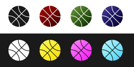 Set Basketball ball icon isolated on black and white background. Sport symbol. Vector Illustration Stockfoto - 134530239
