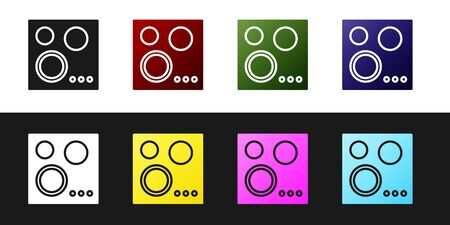 Set Gas stove icon isolated on black and white background. Cooktop sign. Hob with four circle burners. Vector Illustration Foto de archivo - 134530381