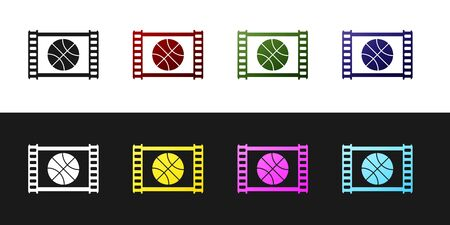 Set Basketball game video icon isolated on black and white background. Vector Illustration