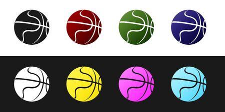 Set Basketball ball icon isolated on black and white background. Sport symbol. Vector Illustration Stock Illustratie