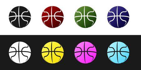 Set Basketball ball icon isolated on black and white background. Sport symbol. Vector Illustration Stockfoto - 134530388