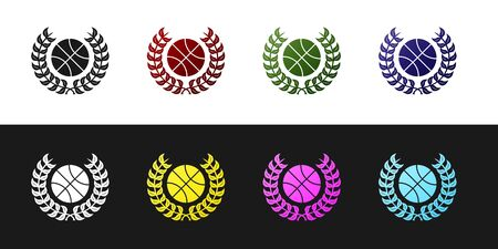Set Award with basketball ball icon isolated on black and white background. Laurel wreath. Winner trophy. Championship or competition trophy. Vector Illustration Ilustracja
