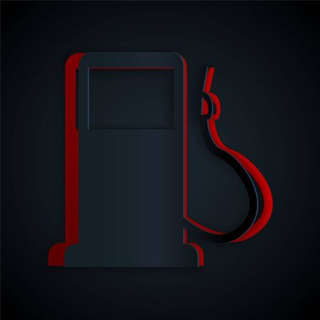 Paper cut Petrol or Gas station icon isolated on black background. Car fuel symbol. Gasoline pump. Paper art style. Vector Illustration