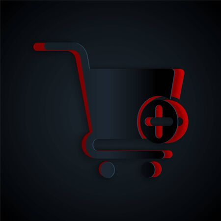 Paper cut Add to Shopping cart icon isolated on black background. Online buying concept. Delivery service sign. Supermarket basket symbol. Paper art style. Vector Illustration