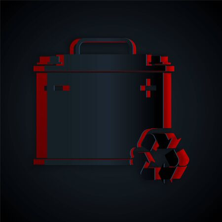 Paper cut Car battery with recycle icon isolated on black background. Accumulator battery energy power and electricity accumulator battery. Paper art style. Vector Illustration