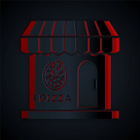Paper cut Pizzeria building facade icon isolated on black background. Fast food pizzeria kiosk. Paper art style. Vector Illustration