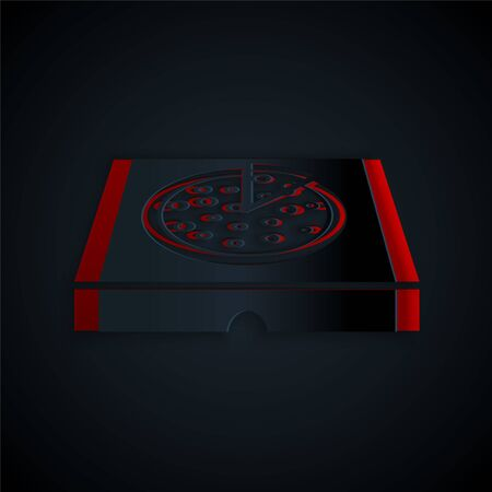 Paper cut Pizza in cardboard box icon isolated on black background. Box with layout elements. Paper art style. Vector Illustration