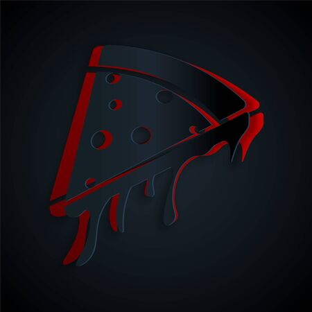 Paper cut Slice of pizza icon isolated on black background. Paper art style. Vector Illustration Иллюстрация