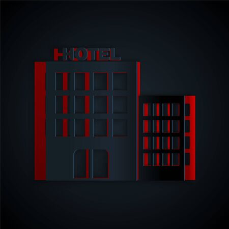 Paper cut Hotel building icon isolated on black background. Paper art style. Vector Illustration