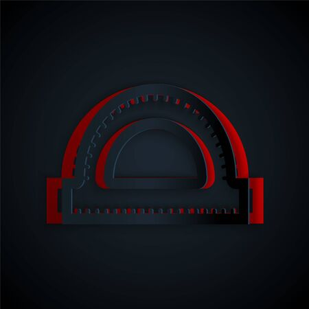 Paper cut Protractor grid for measuring degrees icon isolated on black background. Tilt angle meter. Measuring tool. Geometric symbol. Paper art style. Vector Illustration 向量圖像