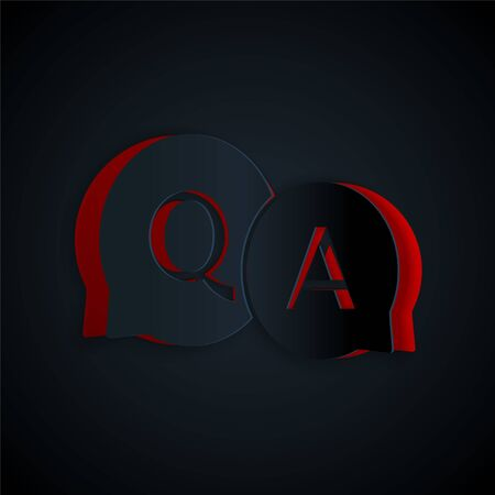 Paper cut Speech bubbles with Question and Answer icon isolated on black background. Q and A symbol. FAQ sign. Chat speech bubble and chart. Paper art style. Vector Illustration